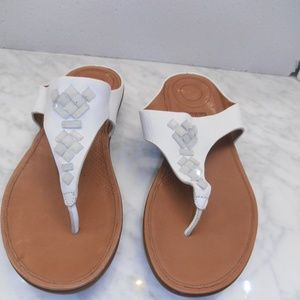 FITFLOP Banda White BEADED LEATHER SANDALS 8